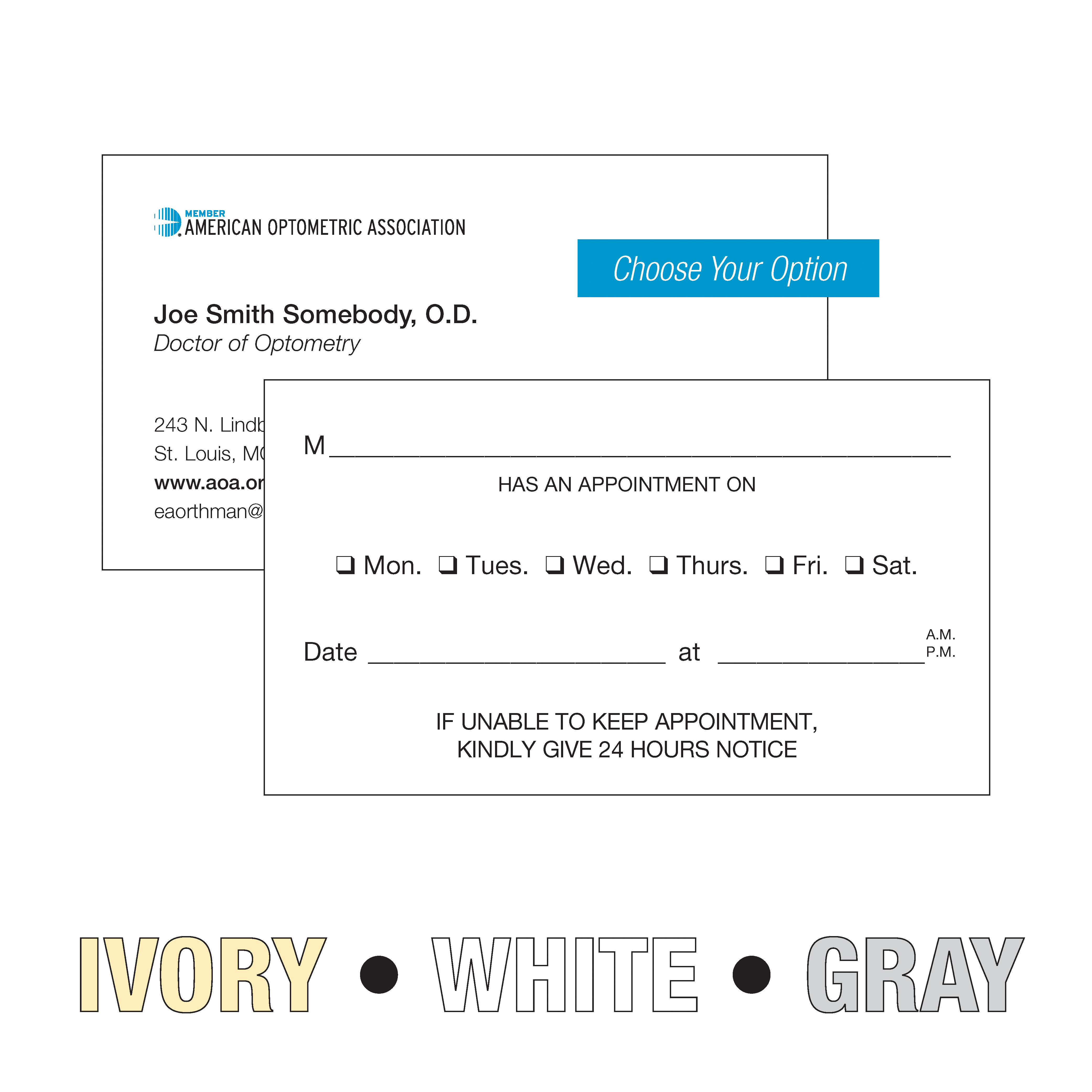 American optometric association 2 sided business cards with appt on back stationery colourmoves